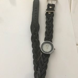 Vintage Silver Watch with Black Braided Band
